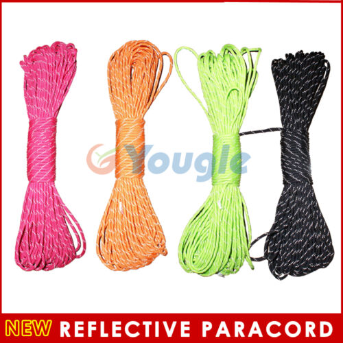 550 Reflective Paracord Parachute Cord Lanyard 8 Strand Core 25ft 50ft 100ft in Sporting Goods, Other | eBay