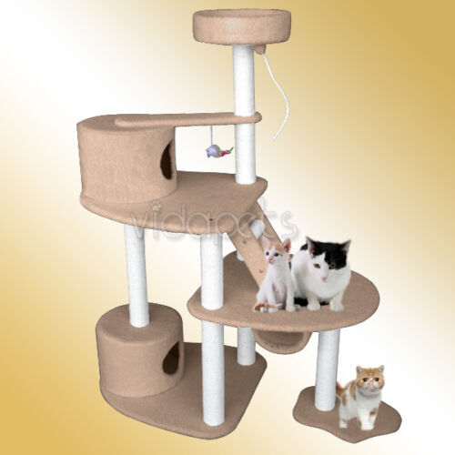 "59"" Light Brown BEST MODEL Cat Tree 2 Condo Furniture Scratch Post Pet House in Pet Supplies, Cat Supplies, Furniture & Scratchers 
