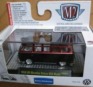 59-VW-Samba-Bus-USA-Model-1959-Rotmetallic-Volkswagen-M2-Machines-Box-1-64-RAR