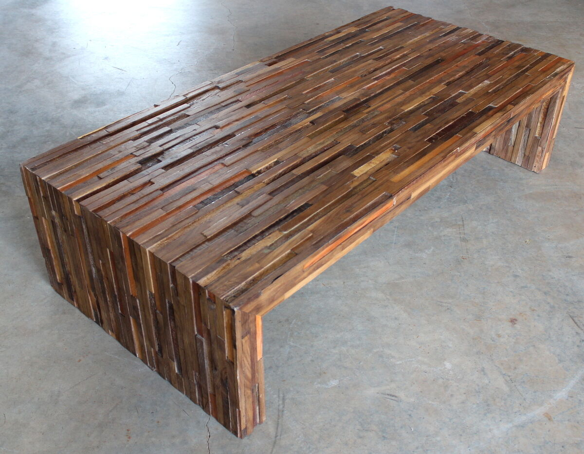 59 Long Coffee Table Made With Exotic Reclaim Hardwoods And Black Walnut Modern Ebay