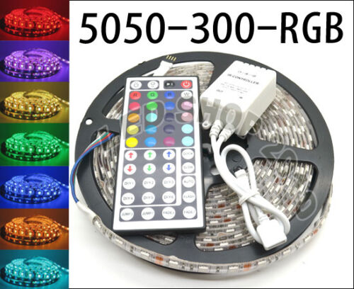 5M 5050 RGB SMD LED Waterproof Flexible Strip 300 LEDs and 44 Key IR Remote in Consumer Electronics, Vehicle Electronics & GPS, Car Electronics Accessories | eBay