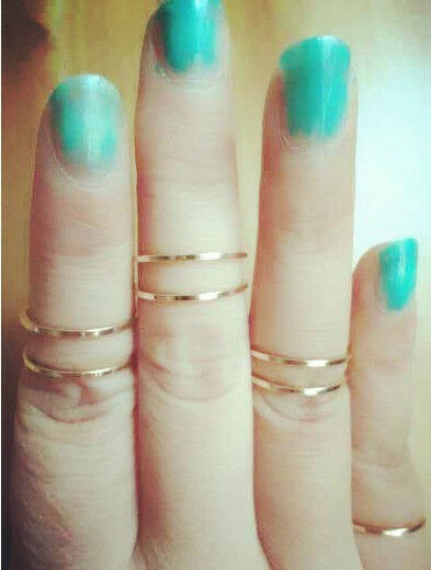 5PCS/Set Rings Urban Gold stack Plain Cute Above Knuckle Ring Band Midi Ring