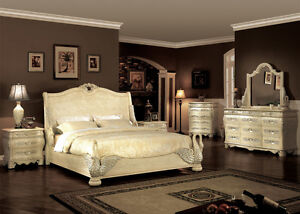 Bedroom Sets 5pc Luxury European Whitewash Swan Hand