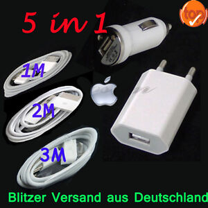 5in1-Fuer-iPhone-3GS-4-4S-2M-3M-Lang-USB-Daten-kabel-Ladekabel-KFZ-Auto-Ladegeraet