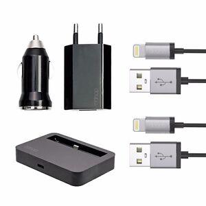 5in1-Lade-Adapter-Set-Docking-Netzteil-Auto-iPhone-6-6S-Plus-5-5C-5S-Schwarz