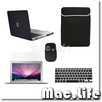 "5in1 Rubberized BLACK Case for Macbook PRO 13"" + Keyboard Cover +LCD+ Bag +Mouse in Computers/Tablets & Networking, Laptop & Desktop Accessories, Laptop Cases & Bags 