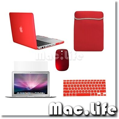 """5in1 Rubberized RED Case for Macbook PRO 13"""" + Keyboard Cover + LCD + Bag +Mouse in Computers/Tablets & Networking, Laptop & Desktop Accessories, Laptop Cases & Bags 