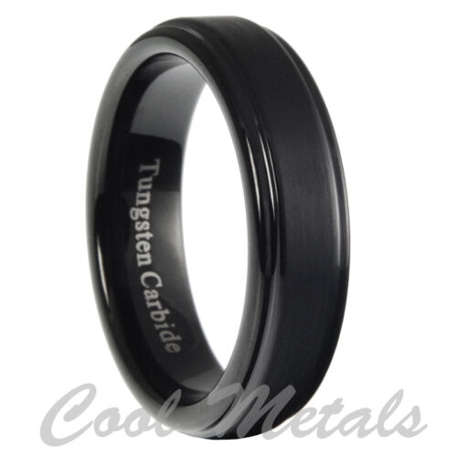 5mm Tungsten Carbide Mens Brushed Stepped Edges Black Wedding Band Ring 5-11.5 in Jewelry & Watches, Men's Jewelry, Rings | eBay