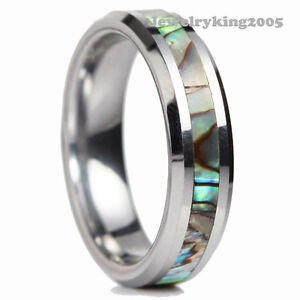 5mm Gougeous Tungsten Carbide Ring Deep Sea Coral Inlay Wedding Band