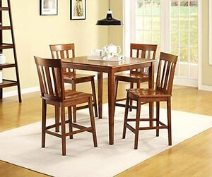 5pc cherry counter height wooden kitchen table and 4