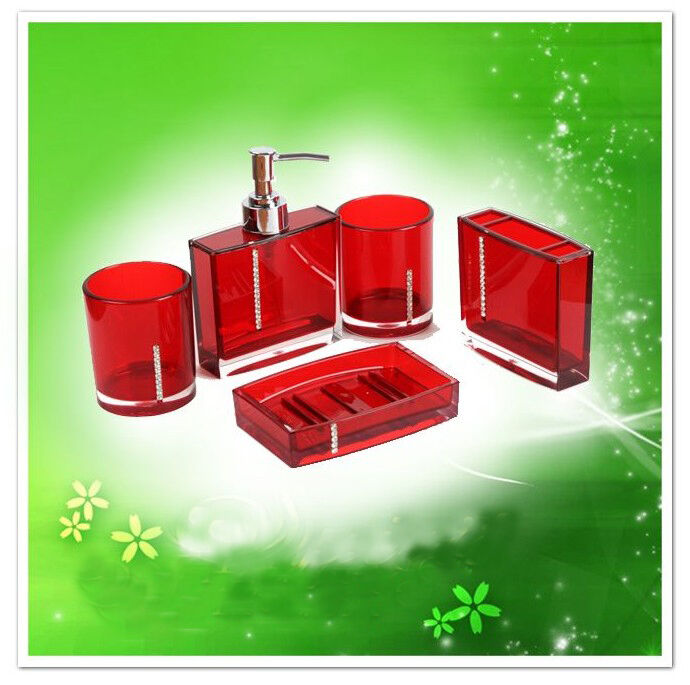 5pcs bathroom accessories set red for shower curtain soap