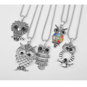 5pcs-wholesale-fashion-jewelry-lot-silver-retro-owl-pendant-necklace-Accessories