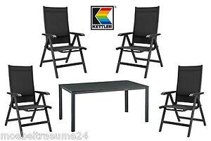 5tlg kettler basic plus gartenmoebel 1tisch 140 cm und 4 klappsessel. Black Bedroom Furniture Sets. Home Design Ideas