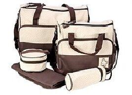 5tlg-Wickeltasche-Pflegetasche-Kindertasche-Babytasche-Braun