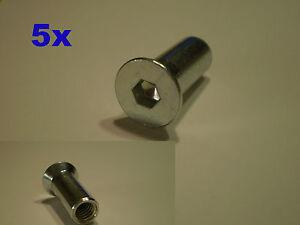 5x h lsenmutter m6x20 4mm inbus m6 innengewinde d 8mm kopf. Black Bedroom Furniture Sets. Home Design Ideas
