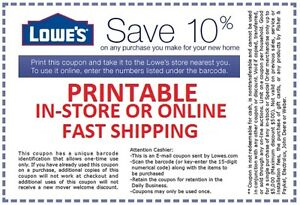 5x LOWES 10% OFF COUPONS - INSTORE/ONLINE - SUPER FAST SHIPPING 11/29 ...