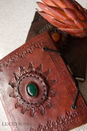5x6 Handmade Leather Journal diary Celtic with a Magic Stone Book Shadows wicca in Books, Accessories, Blank Diaries & Journals | eBay