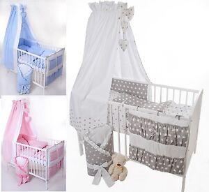 6-9tlg-Baby-Bettwaesche-100x135-Nestchen-Babyhimmel-evtl-Oko-Decke-Kissen-40x60