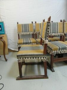 6 antike st hle eiche schlo tafel larp mittelalter 6 er satz set tafel stuhl ebay. Black Bedroom Furniture Sets. Home Design Ideas