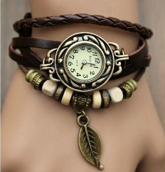 6 Color Quartz Fashion Weave WRAP Around Leather Bracelet Lady Woman Wrist Watch - $5.69