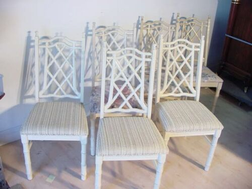 6 FAUX BAMBOO DINING CHAIR HOLLYWOOD REGENCY MID CENTURY in Antiques, Furniture, Chairs | eBay