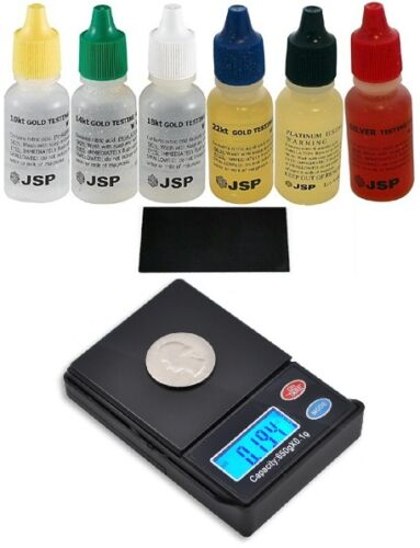 6 Gold Testing Acid Jewelry Kit w/ Stone w/ Digital Scale Test 10k 14k 18k 22k in Jewelry & Watches, Jewelry Design & Repair, Tools | eBay