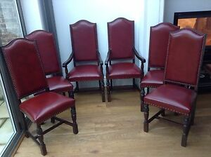 6 Jaycee Oak And Red Leather Dining Chairs EBay