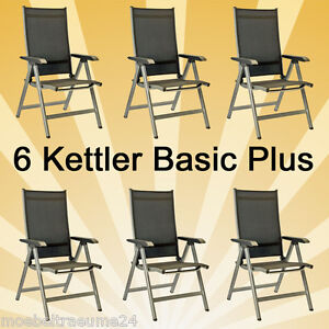 6 kettler basic plus klappsessel sessel multipositionssessel gartenstuhl silber ebay. Black Bedroom Furniture Sets. Home Design Ideas