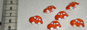 6-Kinderknoepfe-Autos-orange-neu-Kunststoff-waschmaschinenfest