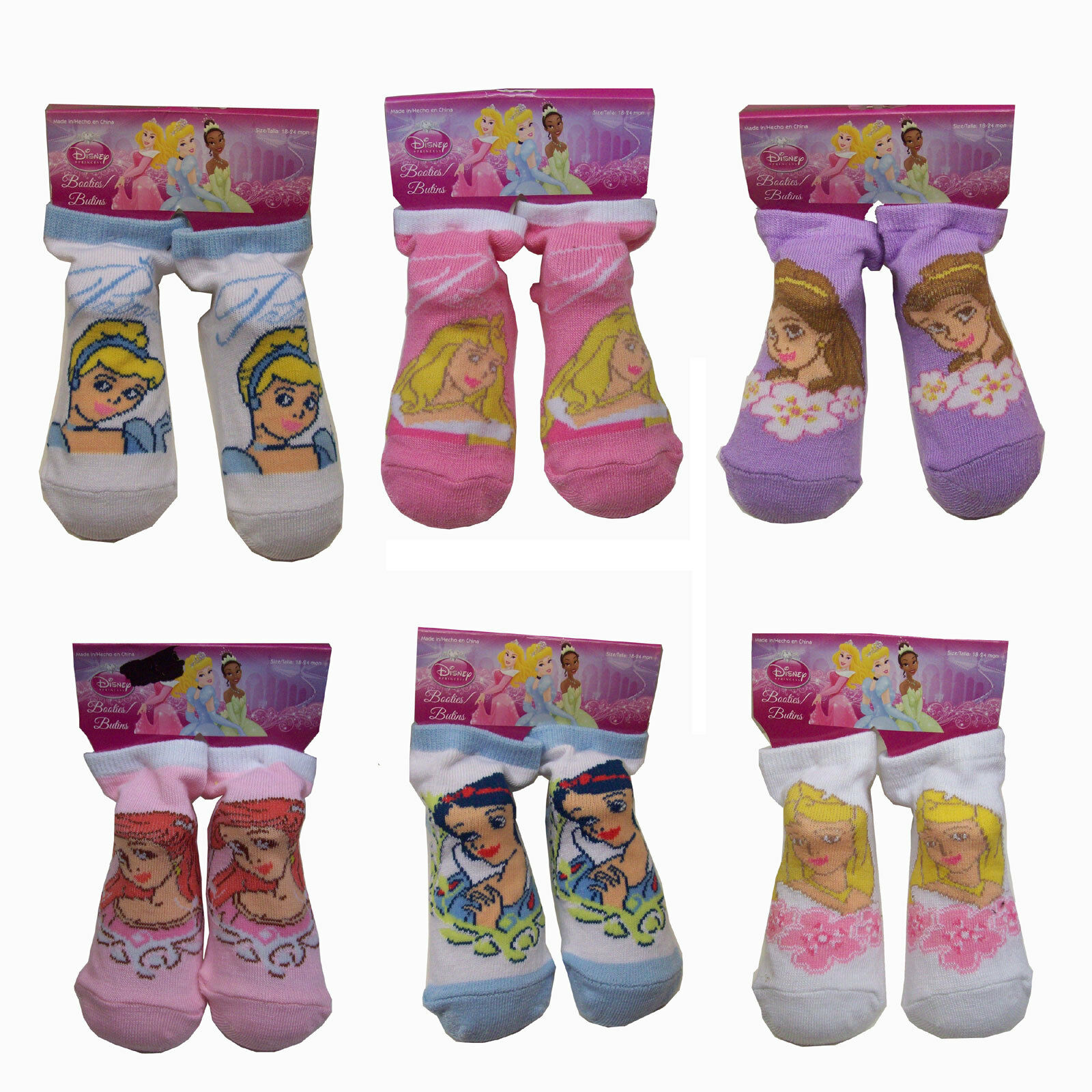 6 Pair Disney Princess Cinderella Ariel Snow White Baby Booties Socks 18 24 MO