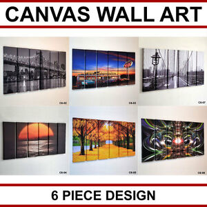 6 Piece Large Canvas Picture Wall Art Multi Split Panel