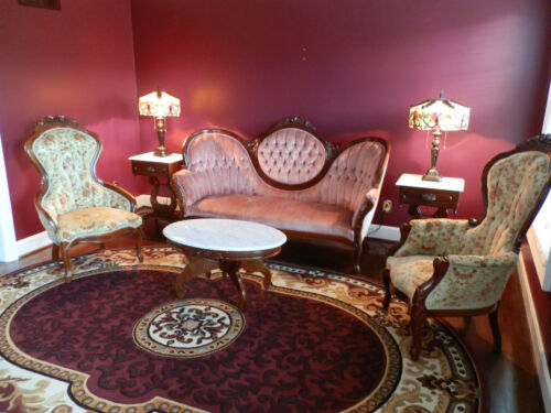 6 piece victorian mahogany living room set and matching for Matching living room furniture sets