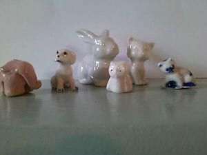 6-Porzellanfiguren-Hase-Katzen-Hund-Eule-Elefant