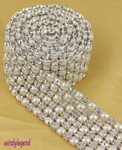 6 Rows 1 Yards Clear Rhinestone Crystal Faux Pearl Mesh Trim Wedding Decoration in Home & Garden, Wedding Supplies, Decorations | eBay