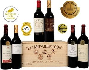 6-Top-Bordeaux-Weine-in-originaler-Holzkiste-Goldpraemierte-Bordeaux-Selektion