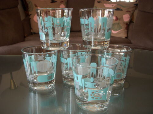 6 Vntg/Mid-Century Modern Blue Heaven ATOMIC/INDUSTRIAL LowBall Cocktail Glasses in Collectibles, Barware, Glasses, Cups, Mugs | eBay