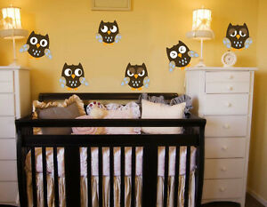 6 Cute Owls Wall Decal Deco Art Sticker Mural Nursery Kids