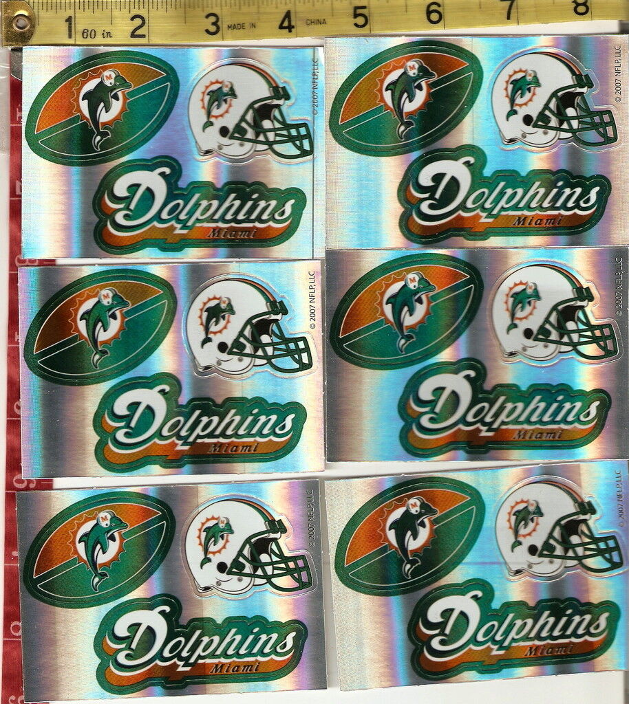 6 Sheets of Football Stickers NFL Miami Dolphins