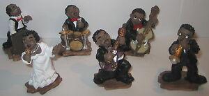 6-tlg-New-Orleans-Jazz-Figuren-Set-Kunststein-Handbemalt-Raritaet-6x3x3cm
