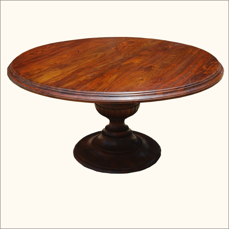 60 rustic hardwood 6 seater round kitchen dining room pedestal table