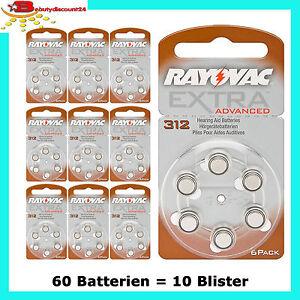 60 st ck rayovac batterien typ 312 pr 41 h rger te batterie braun ebay. Black Bedroom Furniture Sets. Home Design Ideas