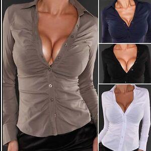 6085 damen bluse business klassisch elegant casual tailliert hemd langarm 36 42 ebay. Black Bedroom Furniture Sets. Home Design Ideas