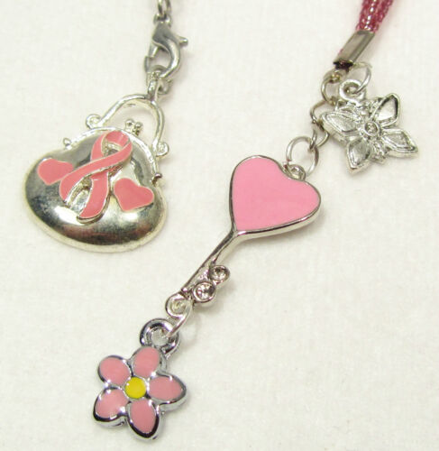 #6197 -- PINK AWARENESS RIBBON THONG BOOKMARK HEART FLOWER CHARMS PINK CORD in Books, Accessories, Bookmarks | eBay