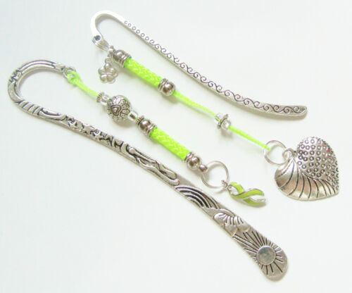 #6219 -- LIME GREEN AWARENESS RIBBON HEART CHARM SILVER BOOKMARK SET -WOW! in Books, Accessories, Bookmarks | eBay