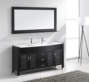 Bathroom Vanity Tops  Sink on Modern Double Sink Bathroom Vanity Cabinet W Mirror White Stone Top