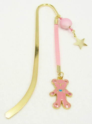 #6361 -- PINK BEAR STAR CHARM BEADED GOLD TONE BOOKMARK -WOW! in Books, Accessories, Bookmarks | eBay