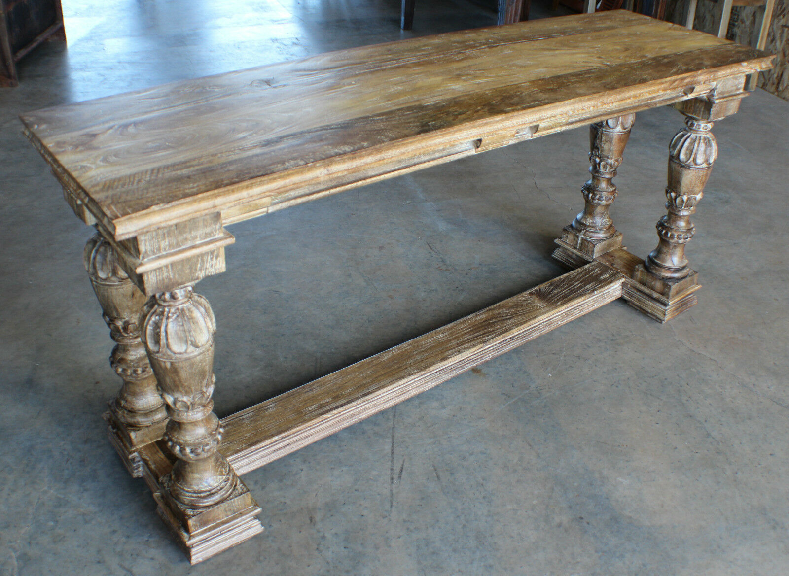 66 long solid wood console table distress sienna finish for Long sofa table 60