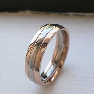 6mm men 39 s two tone titanium wedding band ring size 8 12 ebay