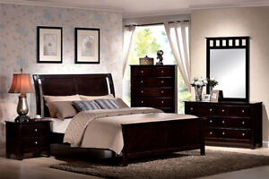 6Pc Contemporary Modern Espresso Brown Queen Bed Bedroom Set Furniture