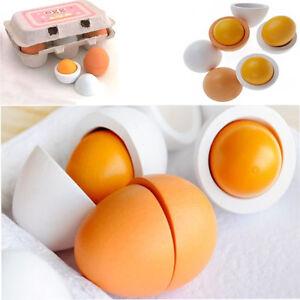 6x lebensmittel holz eier spielzeug zubeh r kaufmannsladen kaufladen kinderk che ebay. Black Bedroom Furniture Sets. Home Design Ideas